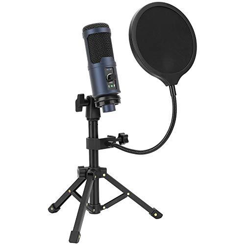 Microfono USB per PC OMOTON [Super Noise Reduction], Microfono a condensatore per computer, YouTube, Live Stream, registrazione di giochi con supporto per treppiede portatile e filtro anti-pop