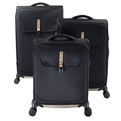 Bugatti Modo Kofferset (S, M & L) - 4 Rollen Koffer Trolley - 3er Reisekoffer Set mit TSA Zahlenschloss, Schwarz