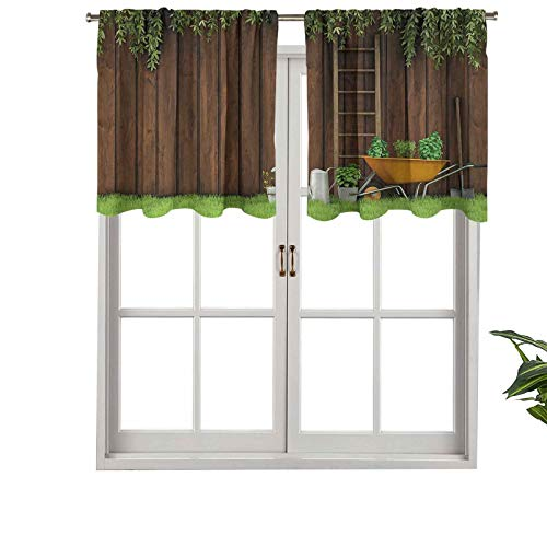 Hiiiman Short Blackout Curtain Valance Rod Pocket Gardening Material Tools on The Backyard with Shovel, Set of 2, 42'x36' Kitchen Curtains for Living Room