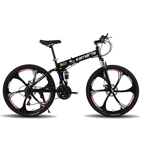 Bicicleta de montaña plegable, 26 pulgadas, 27 velocidades, velocidad variable, todoterreno, doble amortiguación, doble disco, frenos, bicicleta para hombres, montar al aire libre, adulto,Black