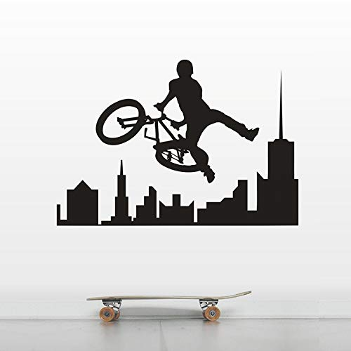 Coole Fahrrad Sport Wandkunst Aufkleber extreme City Bike Sport Vinyl Wandaufkleber Home Interior Decoration Teen Boy Wand Home Decoration Wandbild A7 57x39cm