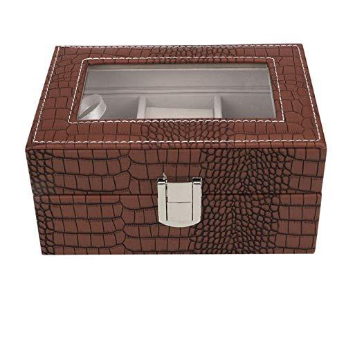 Caja de reloj, organizador portátil de la caja de la caja de almacenamiento de la joyería de la caja de reloj de la capacidad grande(marrón)