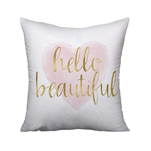 Jagfhhs Hello Beautiful Throw Pillow Covers Blush Pink Gold Watercolor Heart Cushion Pillowcase Decorative 18x18 inch