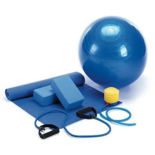 Koehler Home Decor 10016677 36 Inch Blue Yoga Mat Fitness 5 Piece Set