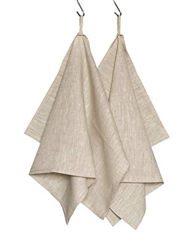 "Harmony Idea Linen Kitchen Towels. Natural Absorbent Dish Towel, 100% European Flax - 18"" x 28""(Set of 2) (Grey)"