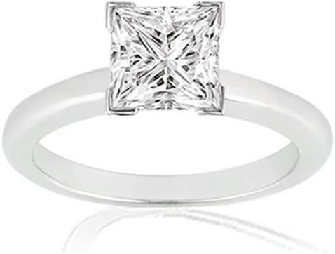 Near 1/2 Carat Princess Cut Diamond Solitaire Engagement Ring 14K White Gold V Prong (G-H, SI1-SI2, 0.45 c.t.w) Very Good Cut