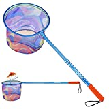 PLUSINNO Kids Fishing Net, Landing Net with Carbon Fiber Telescopic Pole Handle and Ultralight Aluminum Alloy Ring, Catch and Release Butterfly Net for Kids
