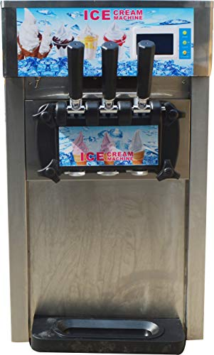 INTBUYING 110V Commercial Soft Ice Cream Machine 1200W Frozen Yogurt Machine Mix 3 Flavor