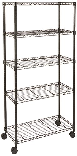 AmazonBasics 5-Shelf Shelving Unit on Wheels – Black