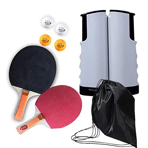Draagbaar Indoor Outdoor Travel Ping Pong Net Telescopisch Rack Set Tafeltennis Racketset Bevat 1 Intrekbaar Rack, 2 Rackets, 4 ABS Tafeltennis, 1 Storage, D