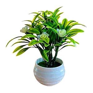 dSNAPoutof Artificial Plant Pot Hibiscus Flower Hotel Garden Decor Plastic Colorful Imitation Flower Pot for Wedding, Home Decor, Party, Cream White