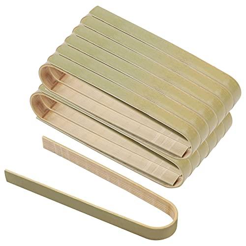 60 piezas Pinzas de comida de bambú para cocinar 4in Mini Tostadora Pinzas Pequeñas Pinzas de Bambú Natural Tostadora Tinzas Ecológico Utensilios de cocina