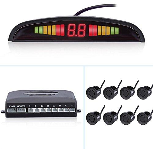 FuriAuto - Sistema de ayuda al aparcamiento con pantalla LCD y 8 sensores de aparcamiento (4 delanteros y 4 traseros) -  Kit con pantalla LED - Color negro