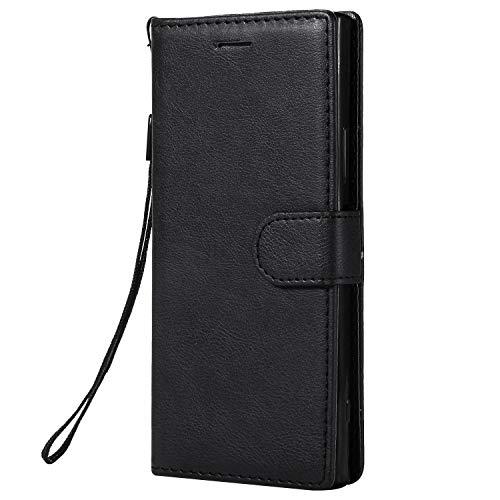 Jeewi Hülle für Sony Xperia XA1 Hülle Handyhülle [Standfunktion] [Kartenfach] [Magnetverschluss] Tasche Etui Schutzhülle lederhülle klapphülle für Sony Xperia XA1 - JEKT051677 Schwarz