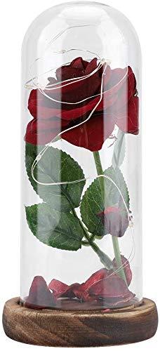 Rose Light Beauty Beast Cover Lámpara de rosa de seda roja y luz LED en cúpula de cristal, decoración romántica del hogar para San Valentín, día la madre, boda, aniversario, regalo cumpleaños