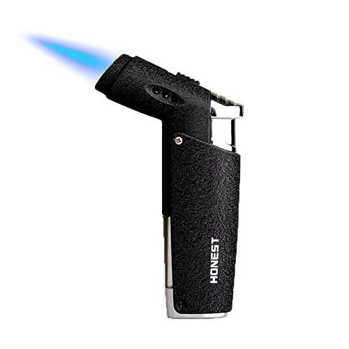 QIANGUANG® Jet Flamme Feuerzeug Schlag Fackel Butan nachfüllbar Winddicht zum Zigarette Zigarre Draussen Geschenk (Schwarz1)