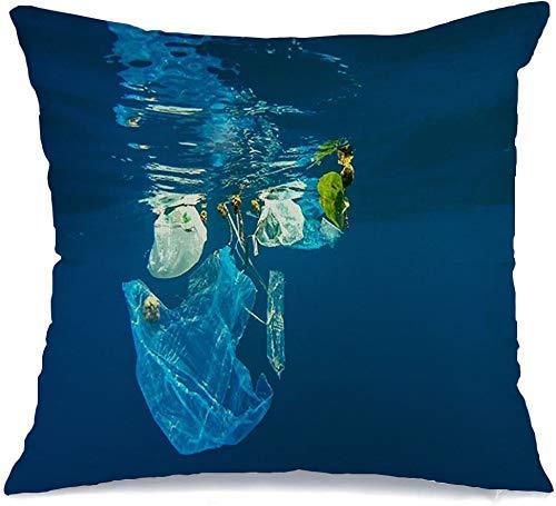 Funda de Cojine Throw CojínPeligro Volcado Contaminación acuática ambiental Bolsa de plástico Reciclar Océano Naturaleza industrial Red Escombros Fundas para almohada 45X45CM