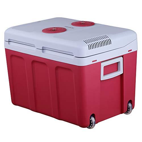 Arebos Nevera portátil de 40 litros, para enfriar y mantener caliente, con modo ECO, 12/230 V para coche y enchufe, eficiencia energética F