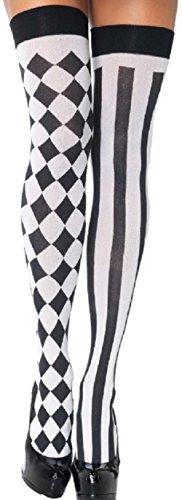 Leg Avenue Damen Halterlose Strümpfe Nylon 60 DEN Harlequin Schwarz Weiß Einheitsgröße 36 bis 40