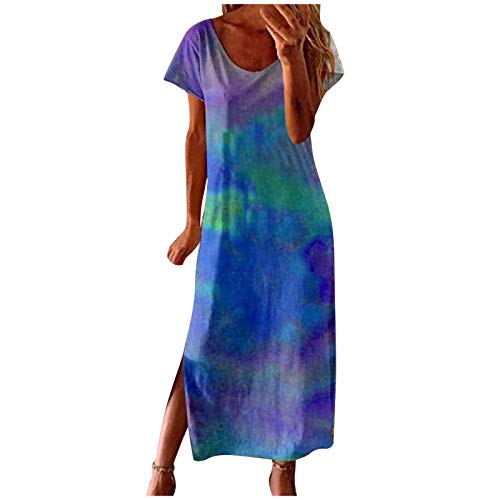 Vestido Casual de Verano para Mujer, de Manga Corta, Cuello Redondo, Elegante Casual Playa Largos Verano Tie Dye Fiesta Vestidos