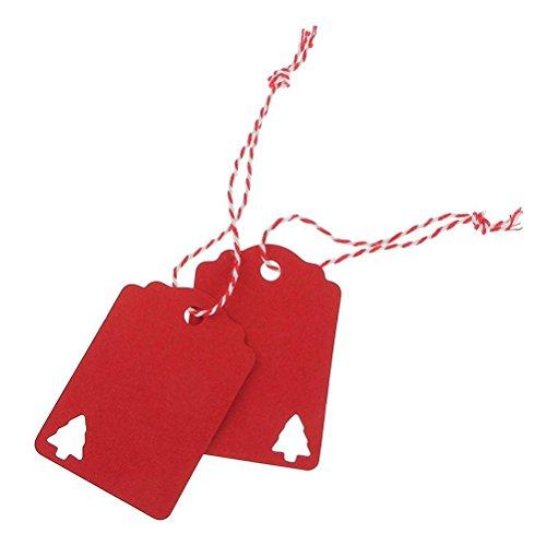 NUOLUX 100pz albero di Natale regalo etichette, appendere Tag con 10M corda Kraft carta Decor(Rosso)