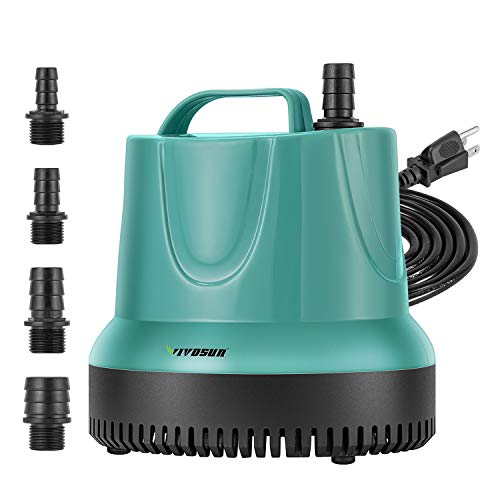 VIVOSUN 850GPH Submersible Pump (3500L/H, 60W), Ultra Quiet Water Pump with 9.2ft High Lift, Fountain Pump with 5ft Power Cord, 4 Nozzles for Fish Tank, Pond, Aquarium, Statuary, Hydroponics