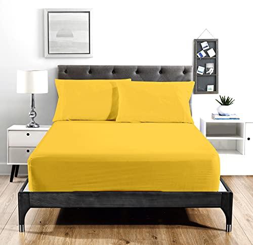 Super Soft 1800 Series Cotton Touch Microfiber 4 Piece Sheet Set (Yellow, King Size)