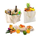 Reusable Canvas Grocery&Produce Bags Kit-Market Cloth Tote Shopping Bags Heavy Duty&Mesh Vegetable Bags-Washable & Eco-friendly Craft Canvas Durable Handles Bags with Bottle Sleeves