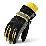 TRIWONDER Ski Gloves for Kids - Windproof Snowboard Winter Warm Gloves Thermal Fleece Snow Gloves for Boys Girls (Black, M (9-14 years old))