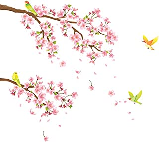 DECOWALL DW-1303 Cherry Blossoms and Birds Kids Wall Decals Wall Stickers Peel and Stick Removable Wall Stickers for Kids Nursery Bedroom Living Room