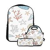 Conjunto de mochila escolar,Acuático Sencillo Agua linda Corales exóticos Awaresome Seashells Acuario Naturaleza Caracol,con bolsa de almuerzo y estuche para lápices para mochila para adolescentes