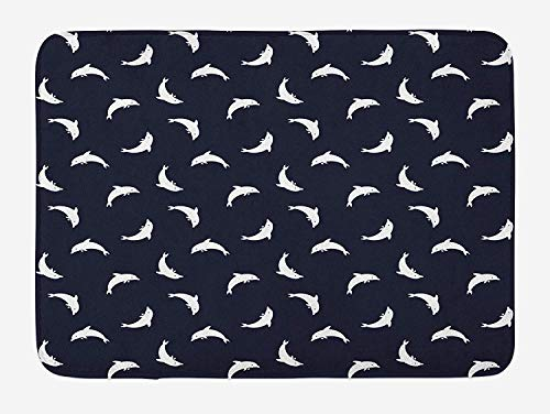 MSGDF Fish Bath Mat, Jumping Dolphins Silhouettes Coastal Theme Aquarium Mammals Atlantic Wildlife, Plush Bathroom Decor Mat with Non Slip Backing, 23.6 W X 15.7 W Inches, Dark Blue White