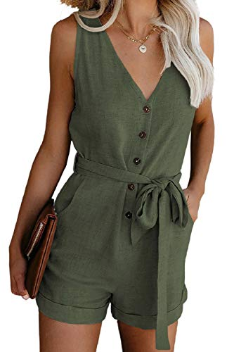 Adibosy Women's V Neck Jumpsuits Casual Sleeveless Romper Button Up Front Tie Knot Solid Short Jumpsuit Rompers Green M