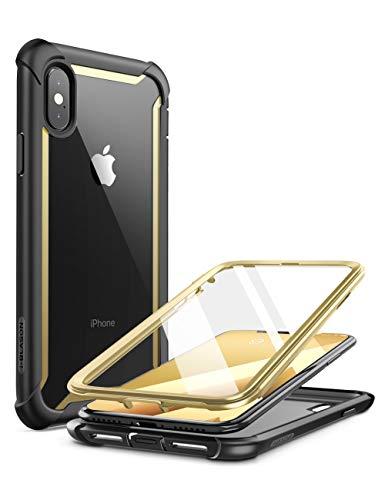 i-Blason Cover iPhone Xs Max, Custodia Rigida a 360 gradi Protezione per Schermo Integrata [Serie Ares] Rugged Case Compatibile con iPhone Xs Max 2018, Nero/Oro