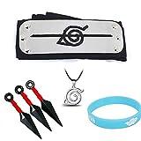 6PCS Naruto Adjustable Cosplay Headband Big Kunai Plastic Toy Necklace Luminous Wristband Ninja...