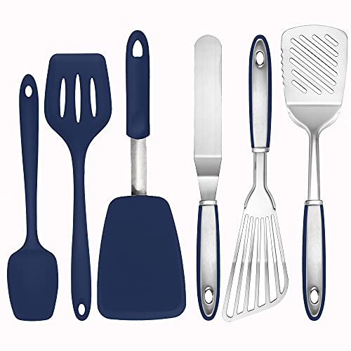 To encounter Silicone Stainless Steel Spatula Turner Set Flexible Fish Spatula Cooking Slotted Turner Metal Icing Spatula Set Kitchen Utensils Tools(Set of 6-Blue)
