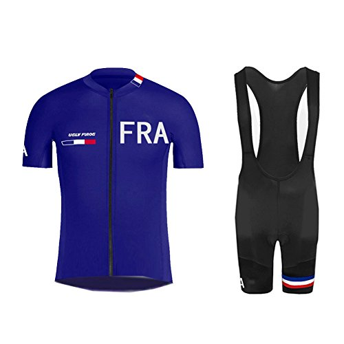 Uglyfrog RWE14 Maillot de Cyclisme Manches Courtes + Cuissard VTT A Bretelles Respirant pour Homme
