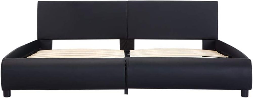 Festnight Cadre de Lit en Similicuir avec LED Lit pour Adulte Blanc 180 x 200 cm