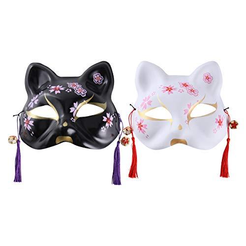 PRETYZOOM Máscara en forma de gato de Halloween estilo japonés fachada (negro, blanco) Favores de Halloween