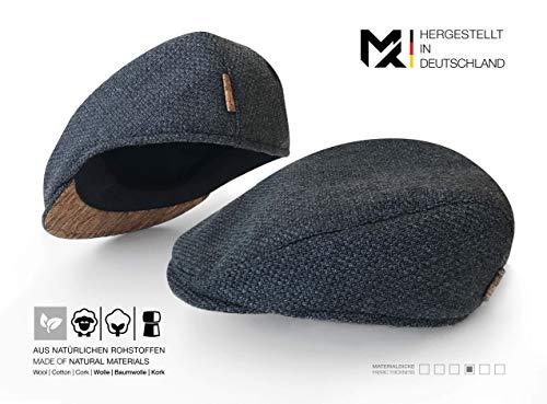 Hergestellt in Deutschland | MAY-TIE Flat Cap | Schirmmütze aus 100% Schurwolle mit Kork | Style: Carbon Grey | Herren Schiebermütze, Barett