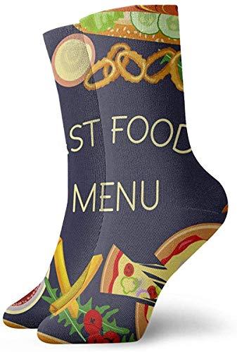 KLING Novedad Divertida Crazy Crew Sock Burger Menú de restaurante de comida rápida Impreso Sport Calcetines deportivos Calcetines de regalo personalizados de 30 cm de largo