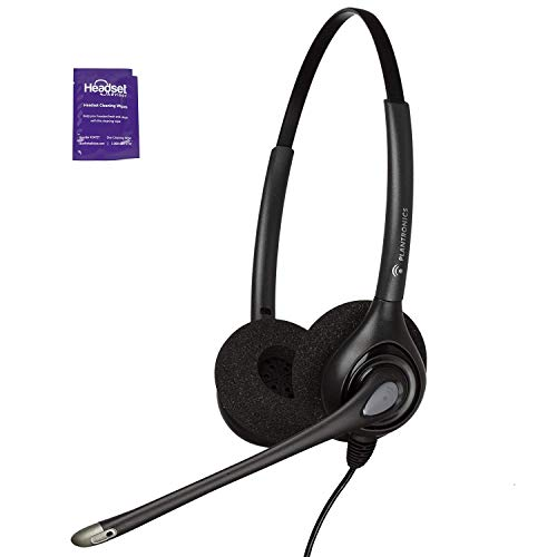 Plantronics HW261n Wired Office Headset Bundle with Headset Advisor Wipe (Renewed)
