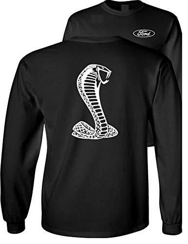 Ford Mustang American Shelby White Snake Long Sleeve T-Shirt F&B, Black, L