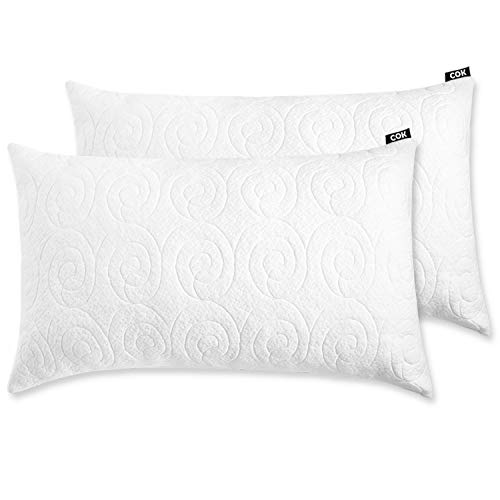 COK Shredded Memory Foam Pillow, Adjustable Loft with Breathable Removable Bamboo Derived Rayon Cover (2 Pack, King), White