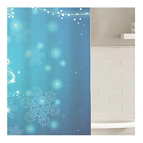 Knbob Duschvorhang Abwaschbar Weihnachten Schneeflocke Blau Duschvorhang Inkl. Duschvorhangringe Blau 180X200Cm