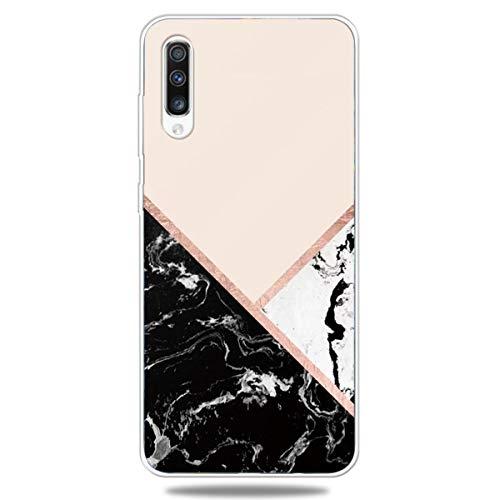 DiaryTown Compatible avec Coque Samsung Galaxy A70 2019 Silicone Marbre Souple, Etui Samsung A70 Housse Antichoc Marble TPU Mince Motif Fine Case Coque pour Filles Femmes Hommes, Rose Noir Blanc