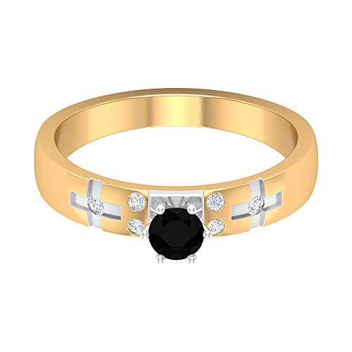 1/2 CT schwarzer Diamantring, HI-SI Diamantring, Solitär Verlobungsring, zweifarbiger Goldring, Jubiläumsring für Frauen, 14K Gelbes Gold, Size:EU 57
