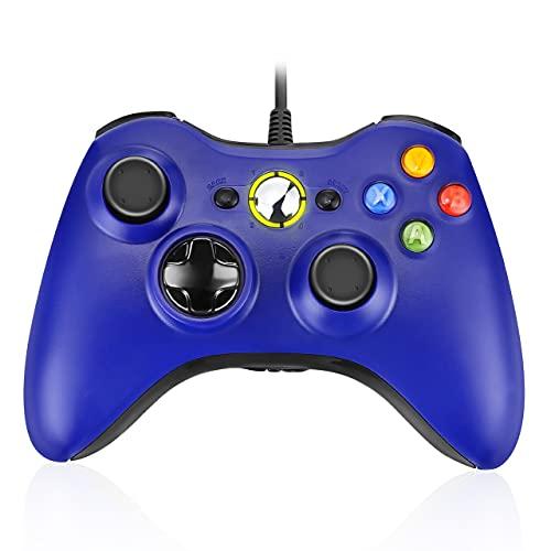 Powerextra Game Controller Xbox 360 - Controller Cablato per Microsoft Xbox 360 Xbox 360 Slim e PC Windows 7 8 10 Controller di Gioco Cablato con Doppio Motore Vibrante Doppio - Blu