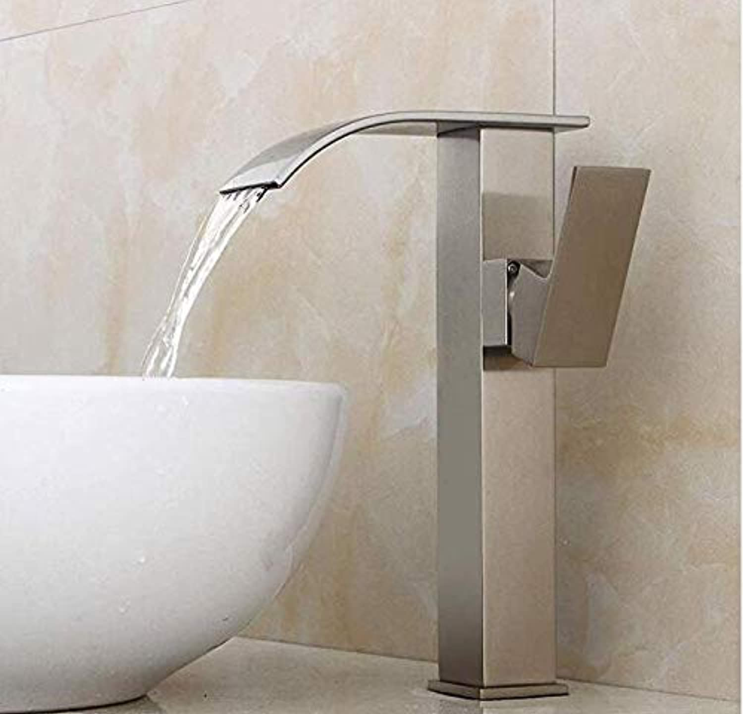 Bathroom Sink Tap Hot Cold Faucet Washbasin Single Handle 360 Degree redation All Copper Basin Faucet Above Counter Basin Height Faucet Waterfall Hot and Cold Faucet Bathroom Copper Faucet