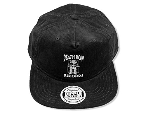 Ripple Junction Death Row Records Adult Unisex Logo Embroidery Flat Bill Snap Back Corduroy Hat One Size Black